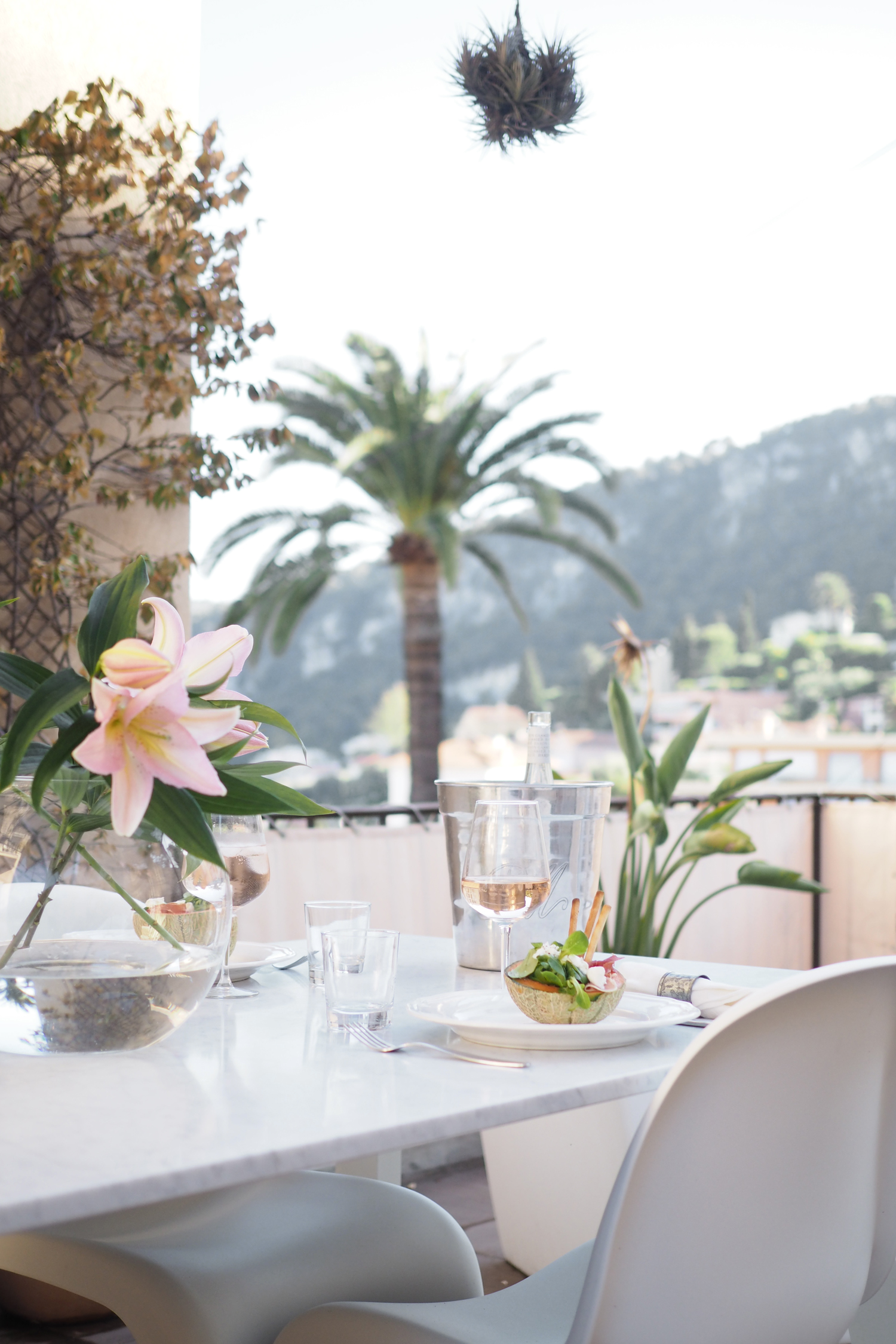 Char and the city - Dinner on the terrace in South of France, Villefranche-sur-Mer, French Riviera